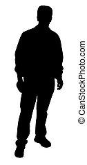 staand, silhouette, man