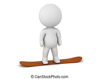 staand, snowboard, karakter, 3d
