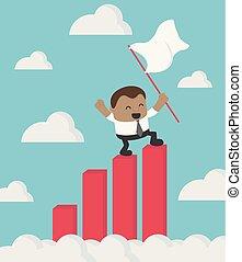 staand, succes, bovenzijde, tabel, vlag, groei, vasthouden, afrikaan, zakenman