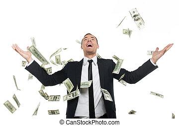 staand, successful., zakelijk, geld, jonge, formalwear, ...