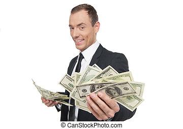 staand, succesvolle , geld, het tonen, jonge, formalwear, ...
