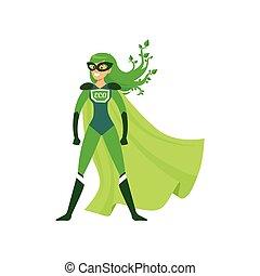 staand, trots, superhero, pose, meisje, green-haired