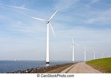 staand, turbines, zee, hollandse, langs, dijk, wind
