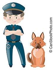 staand, uniform, dog, politieagent