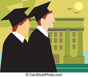 staand, universiteit, aanzicht, bovenkant, afgestudeerdeen