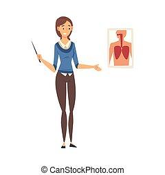 staand, vector, chalkboard, les, illustratie, naast, het verklaren, biologie leraar, vrouwlijk