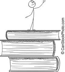 staand, vector, groot, het roemen, illustratie, man, boekjes , stapel, spotprent, opleiding, kennis
