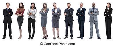 staand, verticaal, vriendelijk, handel team