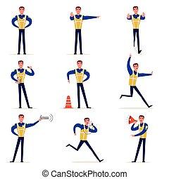 staand, vest, zijn, politieagent, set, zicht, meldingsbord, hoog, kruispunten, vector, verkeer kantoorbediende, handen, illustraties, vervaardiging, uniform