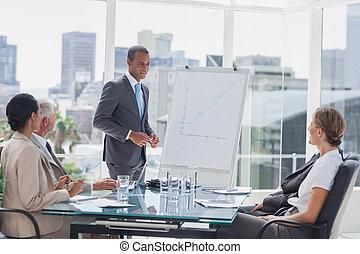 staand, voorkant, whiteboard, zakenman