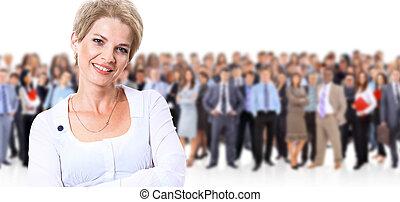 staand, vrouw, haar, zakelijk, jonge, team, voorkant, vrolijke