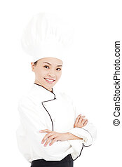 staand, vrouw, jonge chef, studio, aziaat, mooi