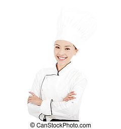 staand, vrouw, jonge chef, studio, mooi