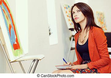 staand, vrouw, kunst, verf, jonge, kaukasisch, voorkant, galerij