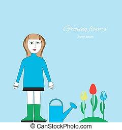 staand, vrouw, watering, bed., bloem, picture., groenteblik,...