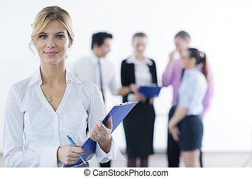 staand, vrouw zaak, haar, achtergrond, personeel