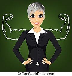 staand, vrouw zaak, succes, spierballen, handen, sterke, arm, heupen
