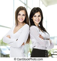 staand, vrouw zaak, succesvolle , twee, armen, jonge, gekruiste, aantrekkelijk, dyadom