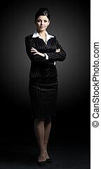 staand, vrouw zaak, zeker, lengte, volle, zwart kostuum