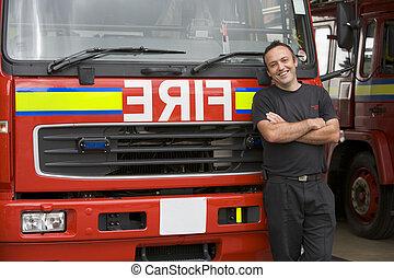 staand, vuur, brandweerman, verticaal, motor