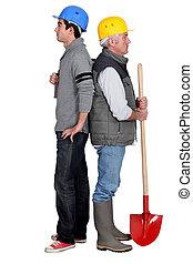 staand, werkmannen , handleiding, back, duo