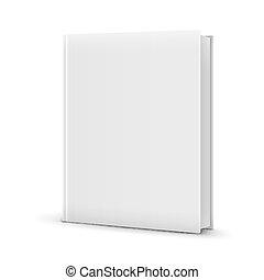 staand, witte , boek, template., leeg
