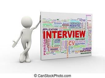 staand, woord, markeringen, wordcloud, interview, man, 3d