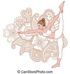 staand, yoga, dhanurasana, pose., silhouette., het trekken, dandayamana, boog, vrouwen