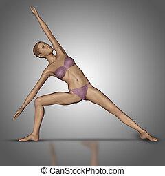 staand, yoga, figuur, vrouwlijk, positie, 3d