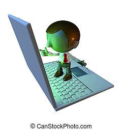 staand, zakelijk, draagbare computer, karakter, 3d, man