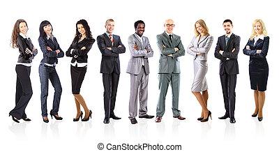 staand, zakelijk, op, gevormde, jonge, zakenlieden, achtergrond, team, witte