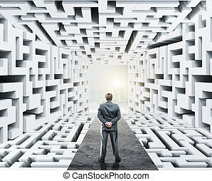 staand, zakenman, labyrint, omringde