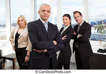 staand, zakenman, voorkant