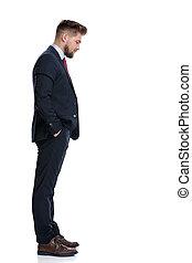 staand, zeker, aanzicht, bovenkant, zakenman