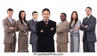 staand, zijn, handel team, voorkant, zakenman