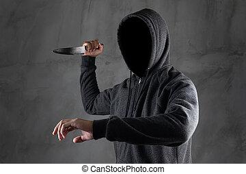 staand, zijn, hooded, gevaarlijk, gezicht, donker, groenteblik, vasthouden, niet, seen., mes, man