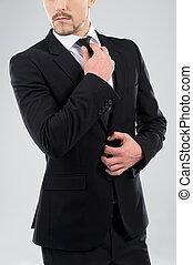 staand, zijn, men., stropdas, jonge, aanpassen, mannen, grijze , vrijstaand, terwijl, bazig