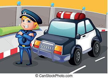 staand, zijn, patrouille, politieagent, auto, naast
