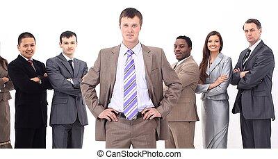 staand, zijn, zakelijk, spreker, team, voorkant