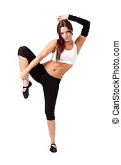 staande vrouw, in, yoga positie