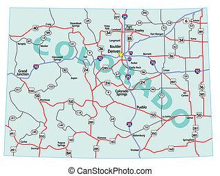 staat, colorado, interstate, kaart
