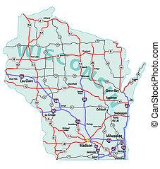 staat, interstate, kaart, wisconsin