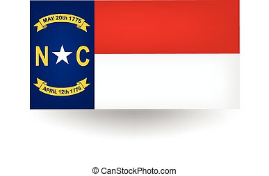 staat, noorden, vlag, carolina
