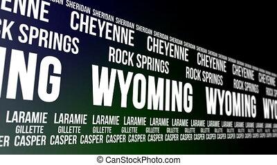 staat,  Wyoming,  Banner,  major, Städte