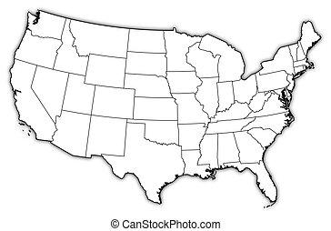 Staaten, Landkarte, vereint,  -