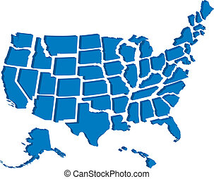 staaten, landkarte, vereint, 3d