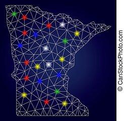 staatliche landkarte, vektor, leiche, licht, minnesota, flecke, hell, masche