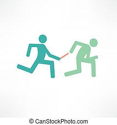 stab übergabe, läufer