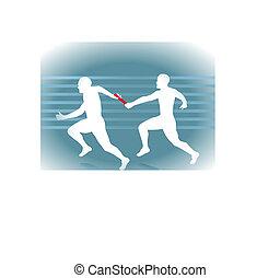 stab übergabe, rennender