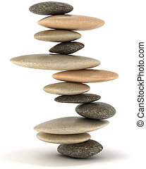 stabilità, bilanciato, pietra, zen, torre